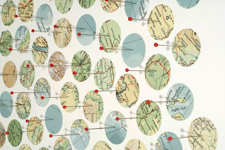 map collage made with pins titled Germinate for the exhibition Fathom at the CMCA in May 2011 by Shannon Rankin