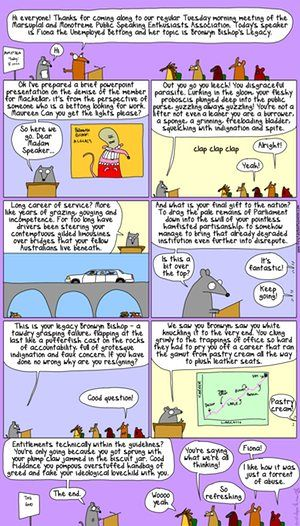Best summary of Bronwyn Bishop ever from Fiona the Unemployed Bettong | First Dog on the Moon