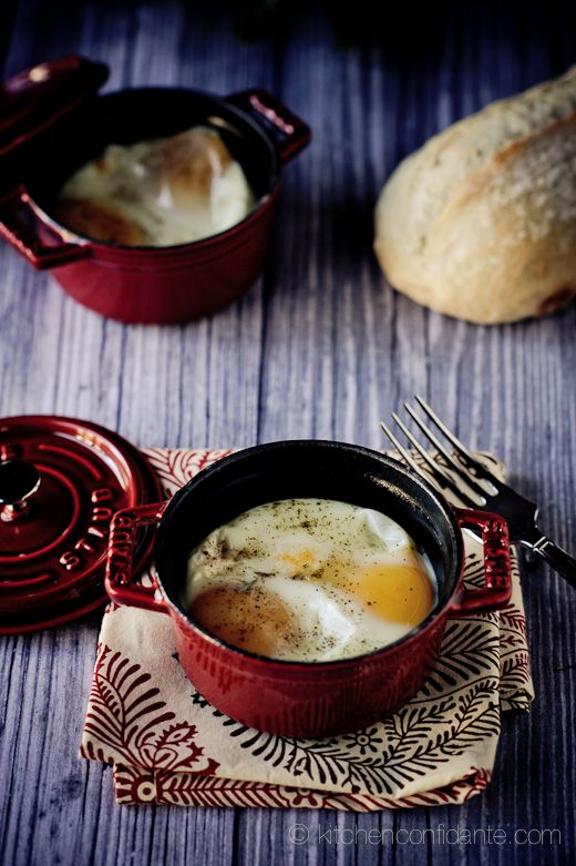 Baked or Shirred Eggs.  I'm actually only pinning this because I want some of those Staub 1-cup cocottes.  How cool are those?