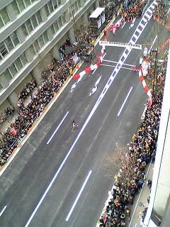 The Hakone Ekiden (箱根駅伝) in Japan draws a massive crowd. I took this shot from our office window.