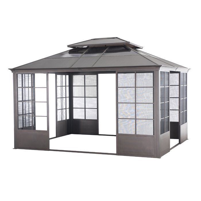 Flora 14 Ft W X 12 Ft D Metal Patio Gazebo Screen House Patio Gazebo Gazebo