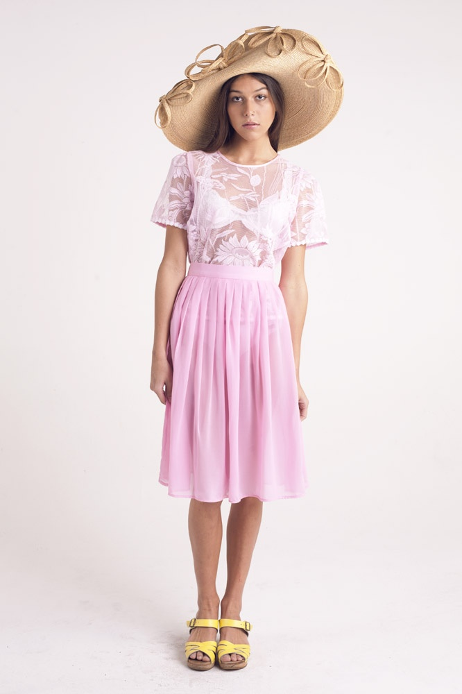 Charlotte pink lace T, Grace soft pleat midi skirt. Sold Out
