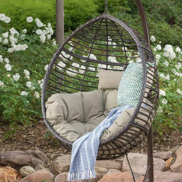 Weller Outdoor Wicker Basket Swing Chair with Stand in