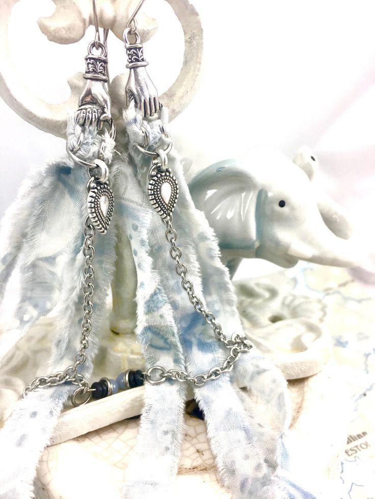 Dramatic Tassel Earrings. Long Stainless Boho Angelite Earrings. Silver Tribal Earrings. Blue Shoulder Dusters. Upcycled. Eclectic Jewelry by OneHandmadeJewellery on Etsy https://www.etsy.com/ca/listing/525226864/dramatic-tassel-earrings-long-stainless