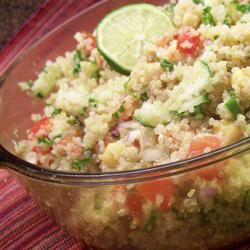Quinoa with chickpeas and tomatoes. SO GOOD.
