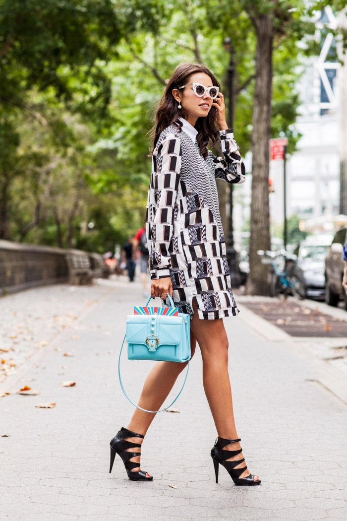 Appreciate the retro. Street style black and white dress with robin's egg blue bag. //  Kenzo Dress in Central Park