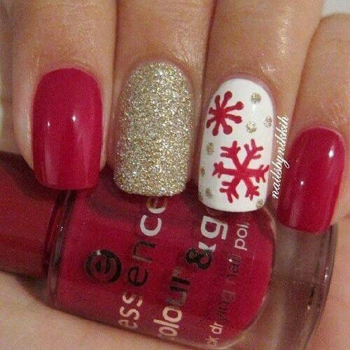 Christmas nails. Red nails. Gold glitter. Snowflakes.