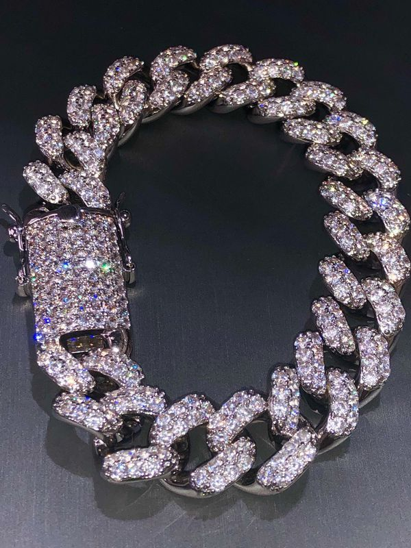 Super Iced Out Miami Cuban Chain Bracelet 8 5 15mm Gold Cuban Link Chain Link Bracelets Pretty Jewellery