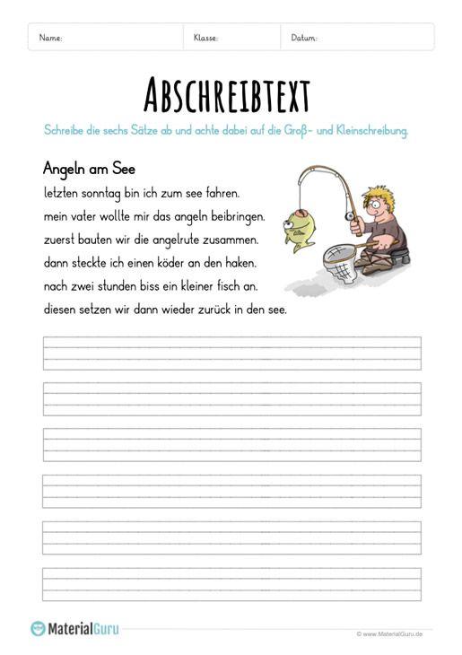 arbeitsblatt text abschreiben angeln am see deutsch test abschreibtexte schule und. Black Bedroom Furniture Sets. Home Design Ideas