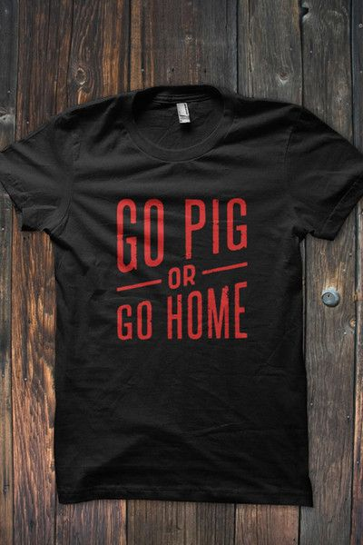 WPS!  Show off your Hog Pride in this unique Arkansas Razorback Go Pig or Go Home T-Shirt. Available in Red on Black or White on Cardinal Red.  #bourbonandboots