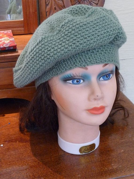 green hat knit hat handmade hat green beret green winter