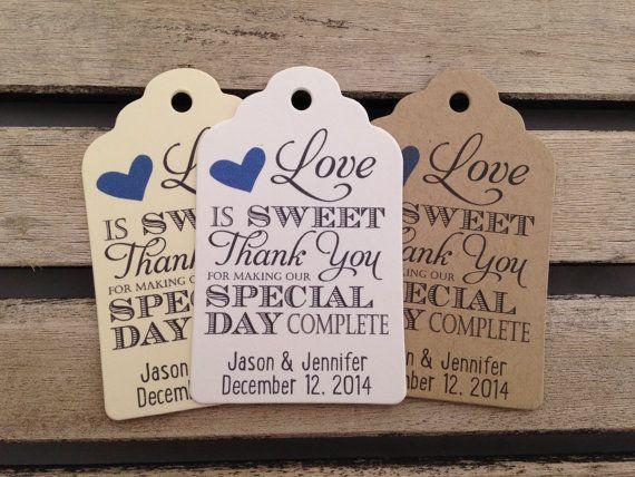 Bruiloft cadeau labels liefde Is zoete door FiendishPaperThingy