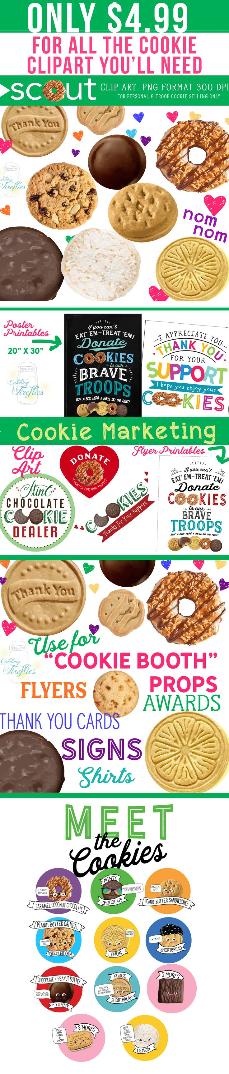 Girl Scout Cookie Clip Art for the Cutest Booth in Town. Clip Art and Marketing Material   #girlscouts,#girlscoutcookies,#boothdisplay,#booth