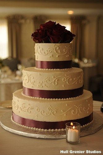 Best 25 3 tier wedding cakes ideas on pinterest white wedding 3 tier cake with burgundy beautifully perfect for a fall wedding the question is how does it taste junglespirit Choice Image