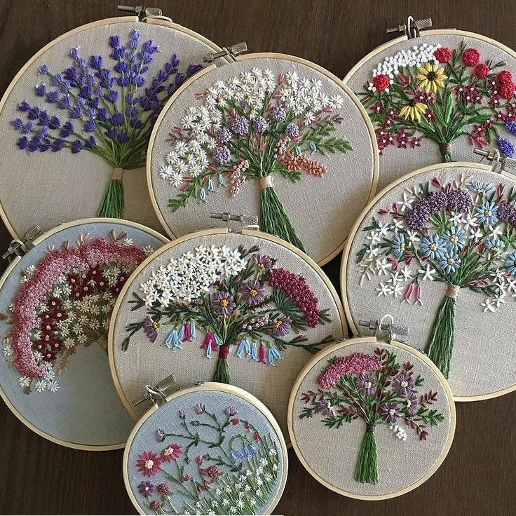 """1,288 Beğenme, 12 Yorum - Instagram'da вышивка crossstitch (@embroideryblog): """"Embroidery by  @rachelwinters_sewing ・・・ These 8 wildflower and lavender hoops are now listed for…"""""""