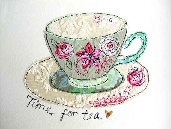 Tea cup stitched mixed media original art by AmandaWoodDesigns