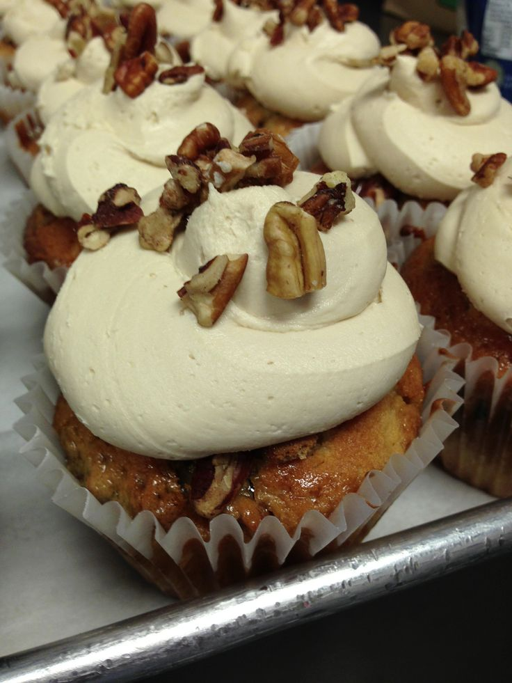 Maple pecan, maple pecan #cupcake with maple frosting!