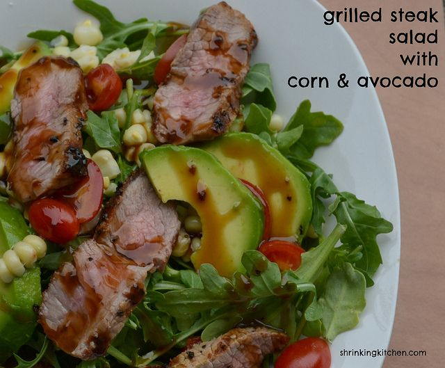 Grilled Steak Salad with Corn & Avocado {Sous Vide} from Shrinkingkitchen.com ste