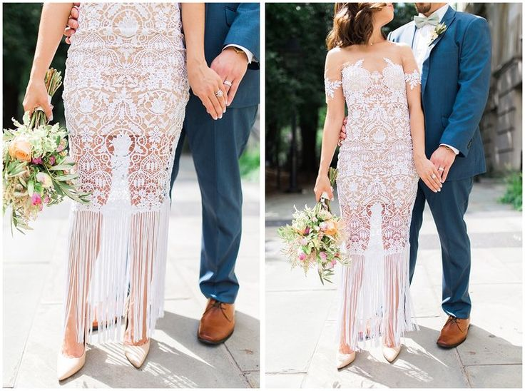 Need dress inspiration for your Elopement? Look at this gorgeous custom lace modern wedding dress this bride wore for her NYC City Hall Elopement!