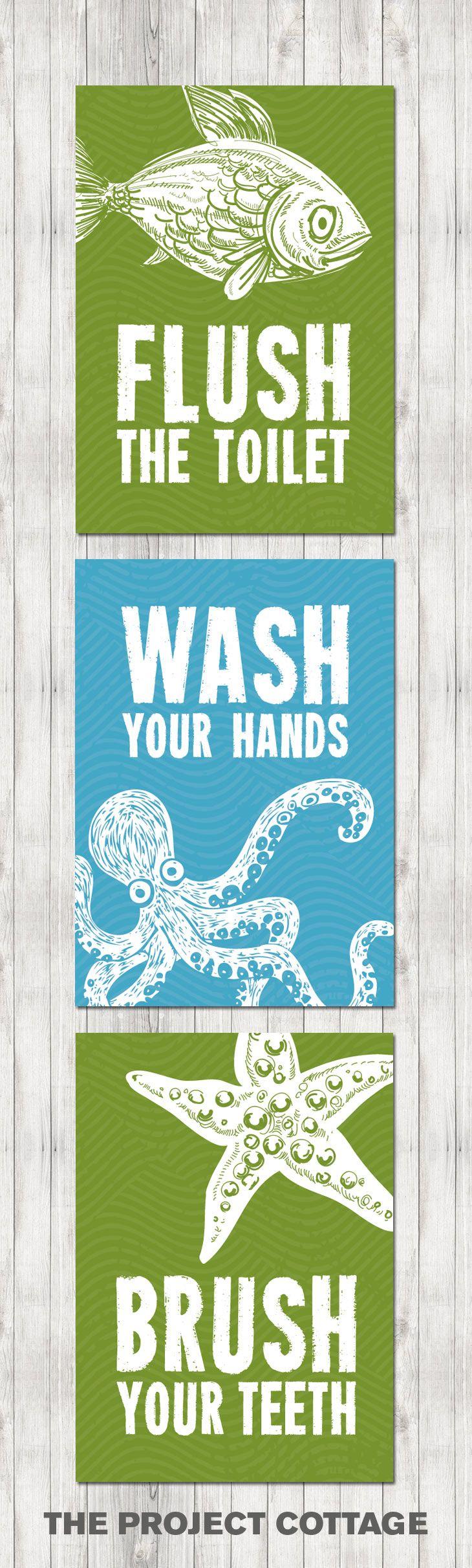 Beach themed kids bathroom - Kids Bathroom Prints Flush Brush Wash