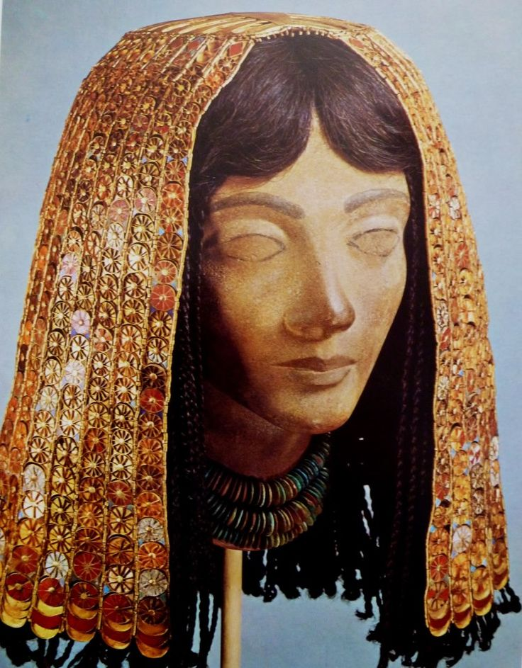 Gold headdress of a lady of the court of Tuthmosis III, Thebes, Egypt, c. 1450. In addition to gold, carnelians, turquoise and glass paste are used for this. Egyptian, 18th dynasty, c. 1450 BC