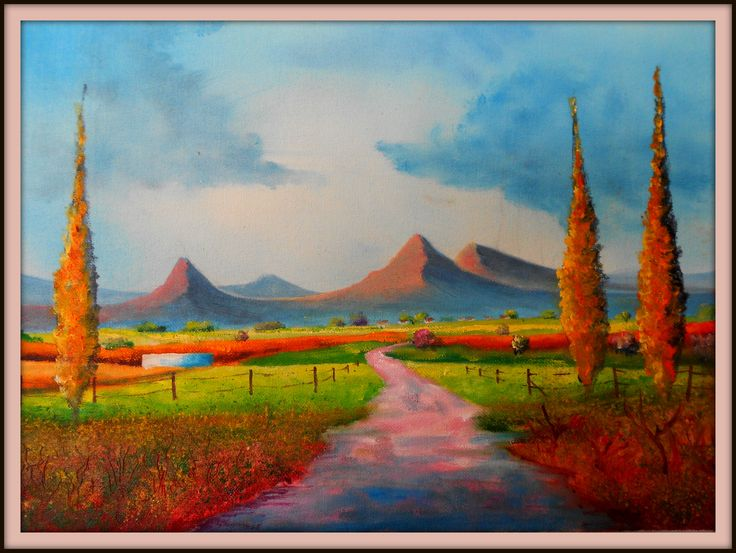 Cape Fields using lighter colours in an attempt to keep clean colours. painted on 29/8/2013. ( Oils) Size 410 mm x 600 mm. For Sale $ 35