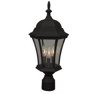 Craftmade Z345 Traditional / Classic Three Light Up Lighting Large Outdoor Post Light from the, Matte Black by Craftmade. $49.00. Three Light Large Outdoor Post Light from the Curved Glass Collection Three light up lighting large outdoor post light Featuring clear glass Requires 3 60w Candelabra base bulbs (not included) Cast Aluminum