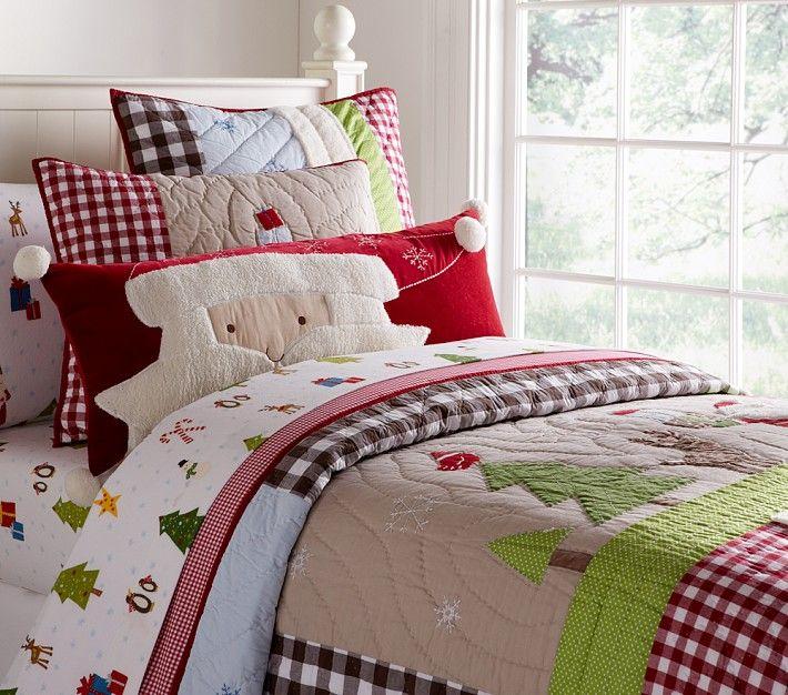 cubrecama y almohada de navidad