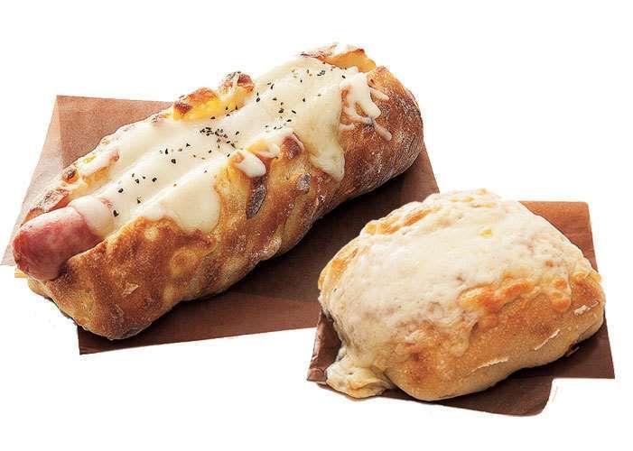 「十勝産ソーセージのコーンパン」、「とろ~りチーズパン」(満寿屋商店)