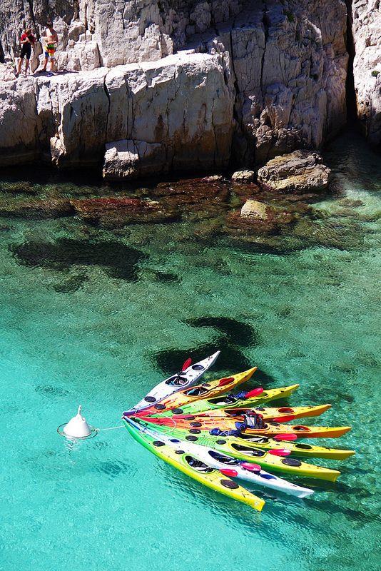 Kayaks in the bay at Calanque d'En-vau, France