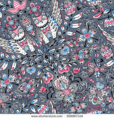 vector floral seamless pattern with abstract plants and owls - stock vector
