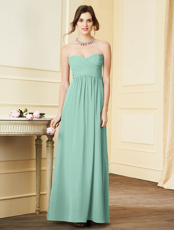 Bridesmaids By Alfred Angelo Style 7289l In Aqua Chiffon Strapless With A Sweetheart Neckline Green Bridesmaid Dresses Pinterest