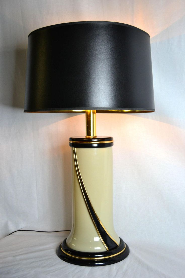 75 best elegant 20th century lamps images on pinterest mid glamorous 80s cream white table lamp with black and gold swirl detail by offcentermodern on etsy geotapseo Choice Image
