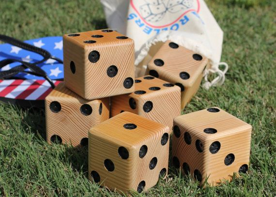 Big Rollers Lawn Dice by RH2Creations on Etsy.  Maybe to get for outdoor Farkle Game for Gerry??
