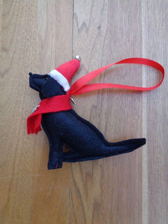 Handmade black felt Christmas Labrador type dog by CraftyBunnyDog More