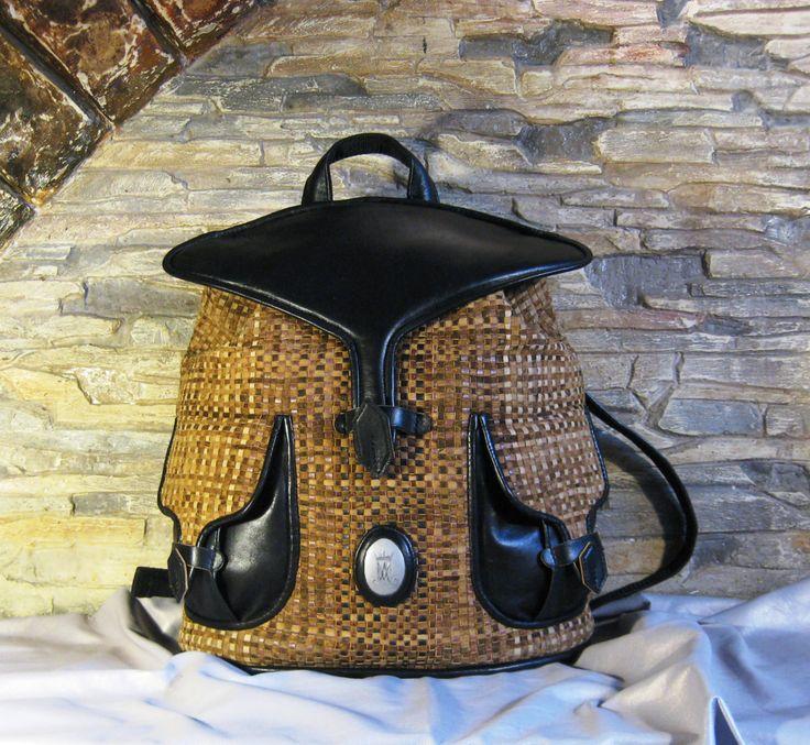 "Backpack woven leather ""Stingray"", плетёный кожаный рюкзак by MABTESS on Etsy"