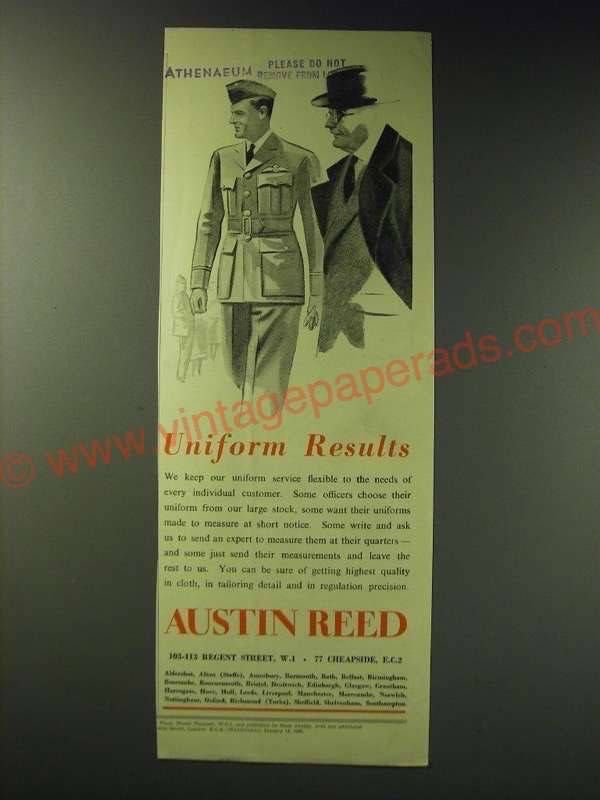 Er1098 1942 Austin Reed Uniforms Ad Uniform Results Austin Reed Vintage Ads Vintage Advertisements