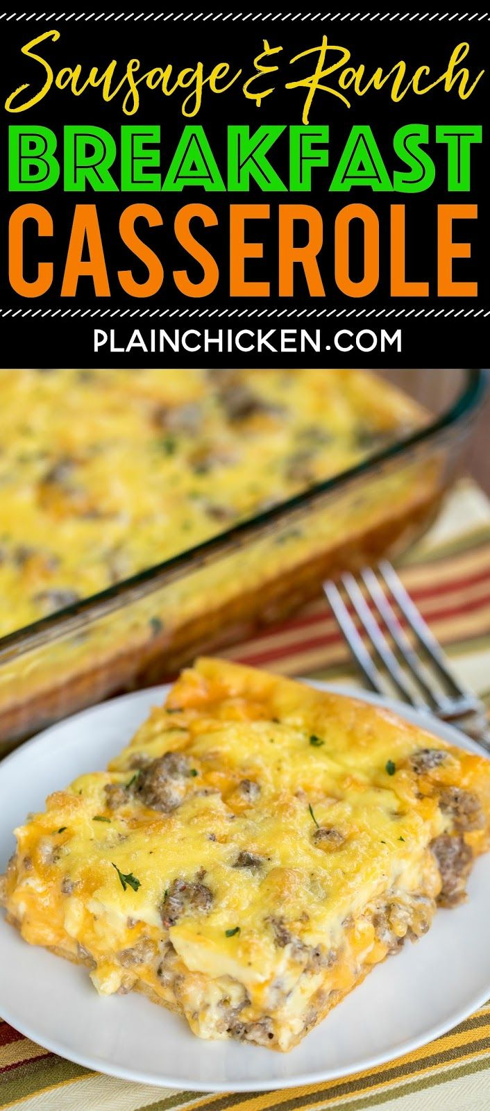 Sausage and Ranch Breakfast Casserole Recipe - CRAZY good!! Crescent rolls topped with eggs, milk, cheddar, sausage and ranch. Ready to eat in about 3...