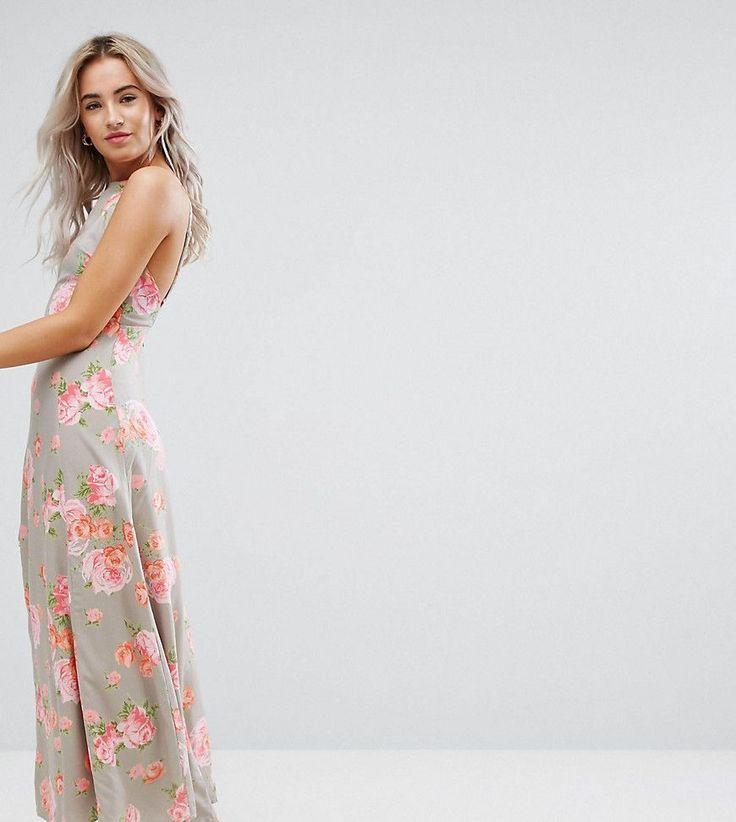 ASOS PETITE Open Back Maxi Dress In Pretty Floral - Multi