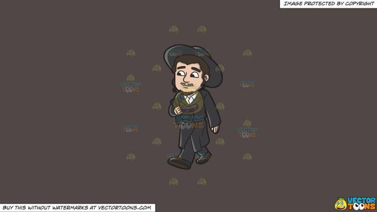 A Jewish Man Walking In Traditional Wear On A Solid Quartz 504746 Background:   A man with black curly hair faint mustache and goatee wearing a black payot hat coat pants and shoes white button up shirt smirks while walking right hand holds a black bag tucked in his arms