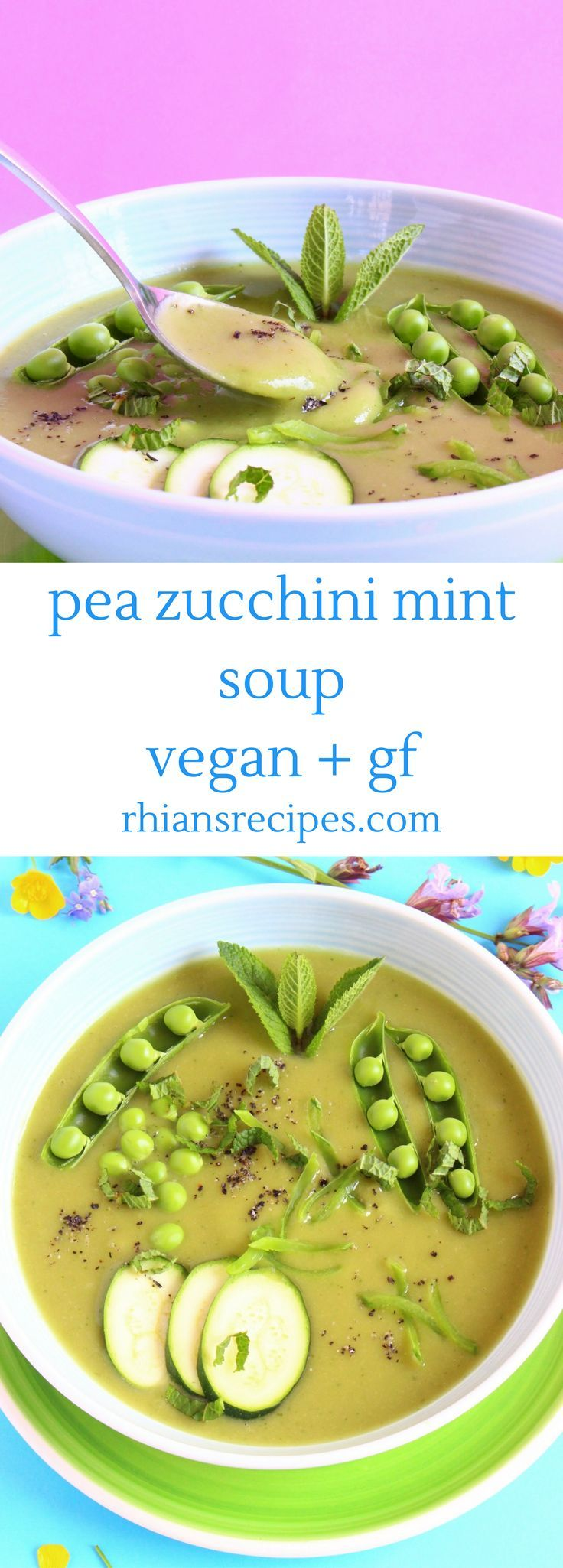 This Pea Zucchini Mint Soup is super nutritious and the perfect way to use all the wonderful summer produce! Vegan and gluten-free.