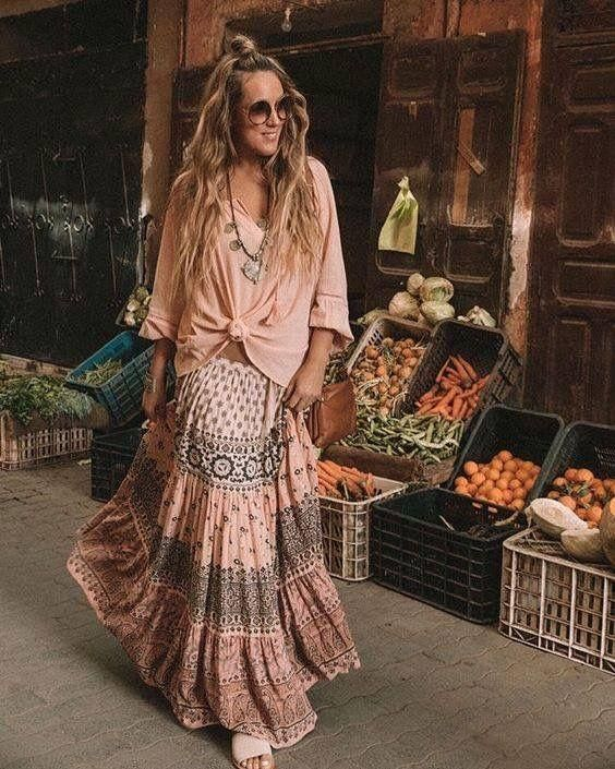 10ce22469 Boho floral maxi dress in 2019 | Boho Chic Fashion for Women ...