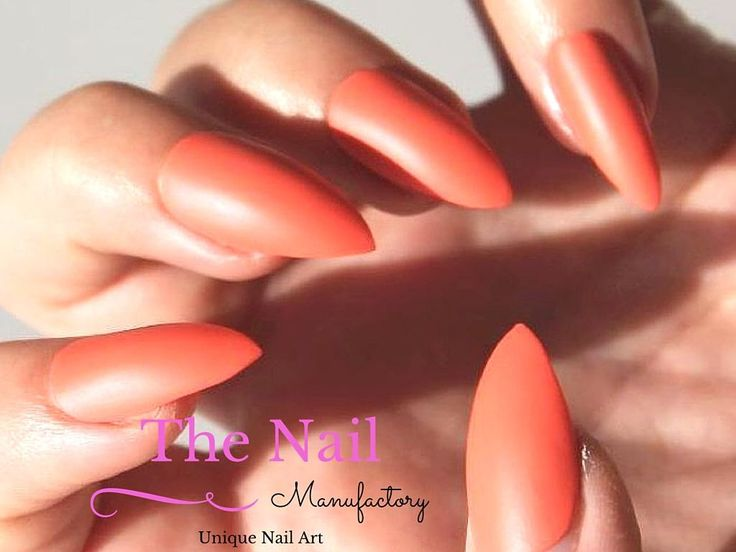 Coral Matte Stiletto nails - also available as Oval or Square Fake Nails - Set of Orange Handpainted False Nails -   Matte Look - Press On by TheNailManufactory on Etsy https://www.etsy.com/listing/245180470/coral-matte-stiletto-nails-also