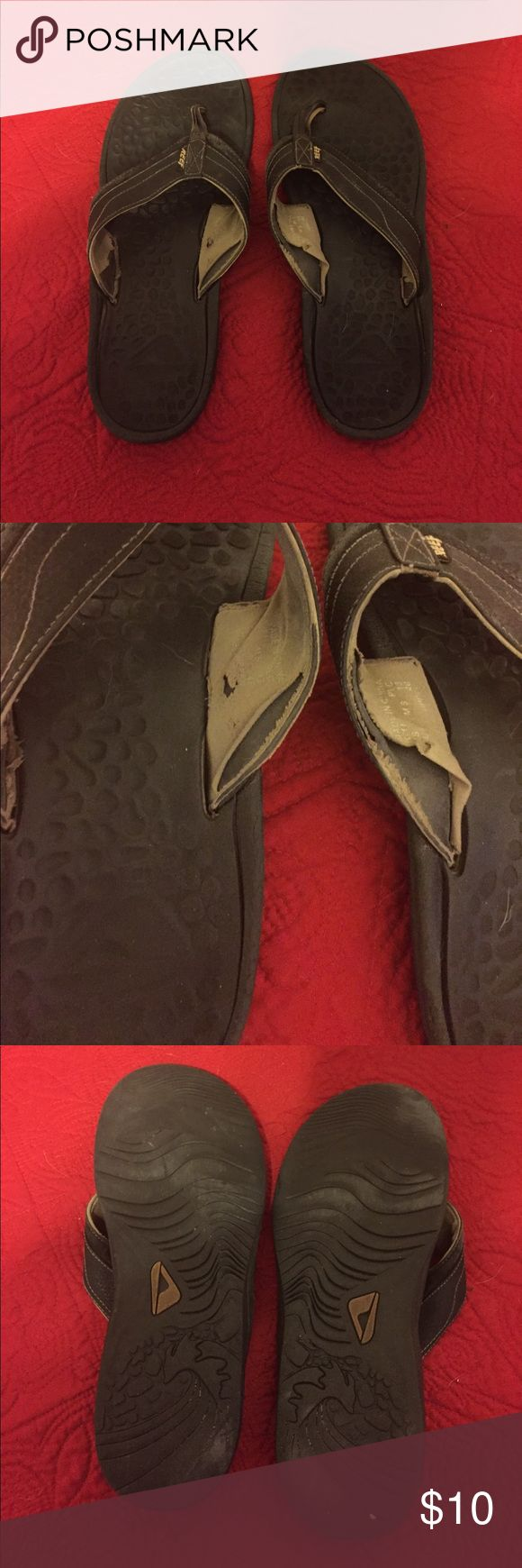 Men's Reef flip flops A little worn on the inside as shown, other than that very sturdy. Reef Shoes Sandals & Flip-Flops