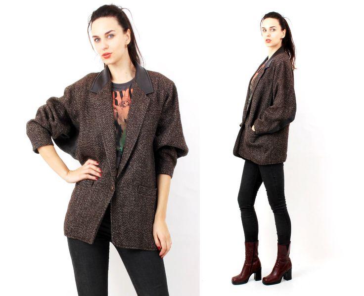 Vintage 80s Brown Tweed Blanket Lapel Cllar Boyfriend Jacket / Coat Size L / XL by Ramaci on Etsy