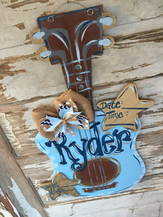 Guitar Door Hanger Personalized Baby Door by queensofcastles