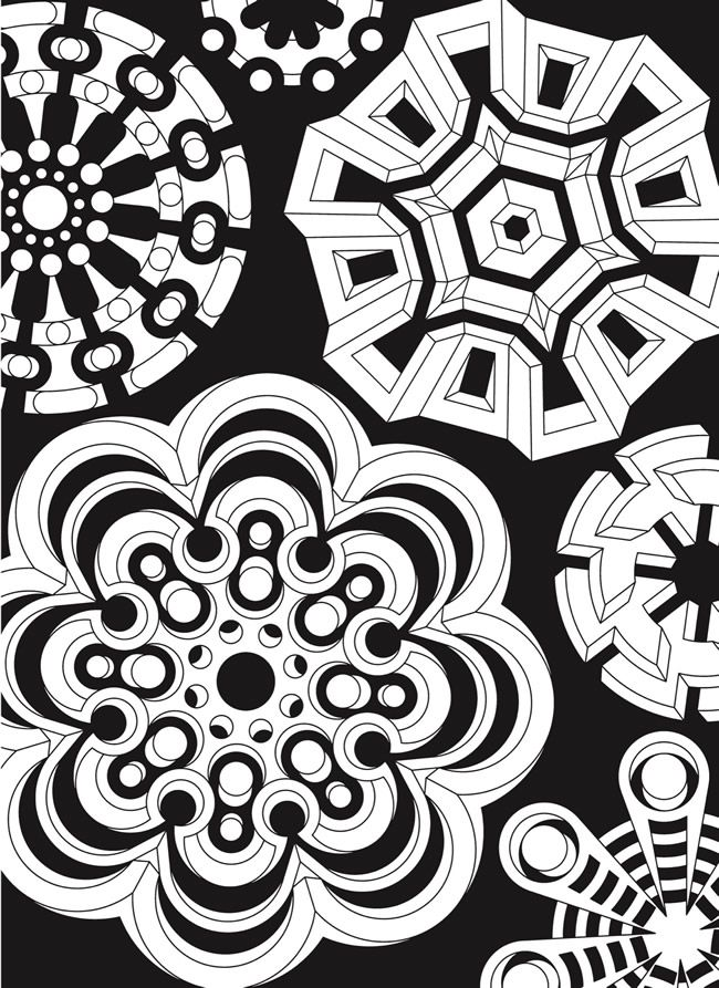 creative haven infinite illusions coloring book eye popping designs on a dramatic black background welcome to dover publications - Fractal Coloring Book