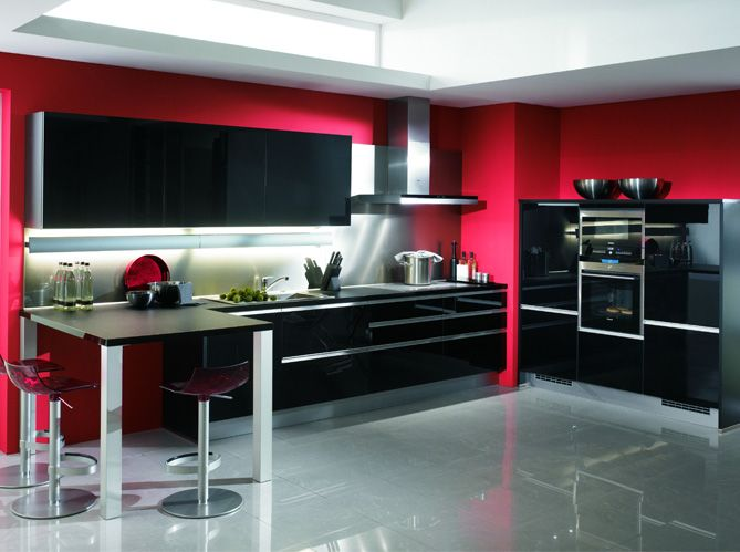 cuisine design noir rouge cuisine kitchen. Black Bedroom Furniture Sets. Home Design Ideas