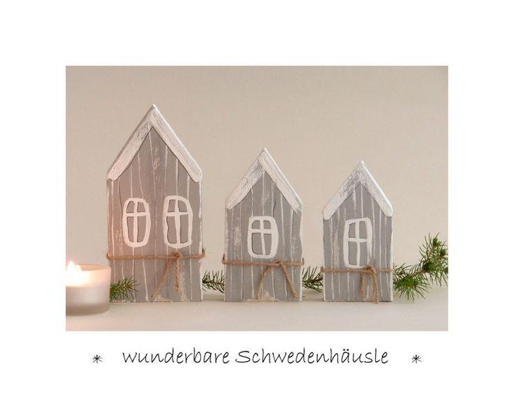 Deko-Objekte - 3 Schweden - Häuschen Holz Winterdeko Herbstdeko - ein…