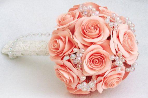 Salmon rose wedding bouquet  Pale coral  Bridal от FlowersofSharon, $95.00